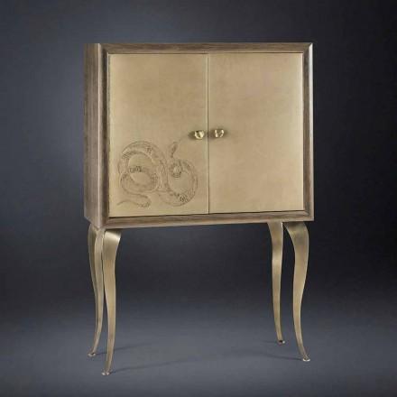 Armário Alegria com 2 portas, em madeira maciça e couro anilino