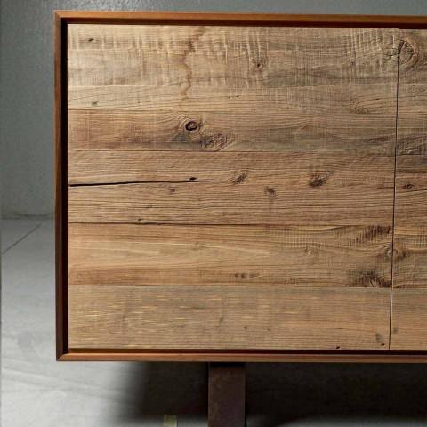 Aparador moderno com 3 portas em madeira de nogueira natural, W 215 x D 50 cm, Flora