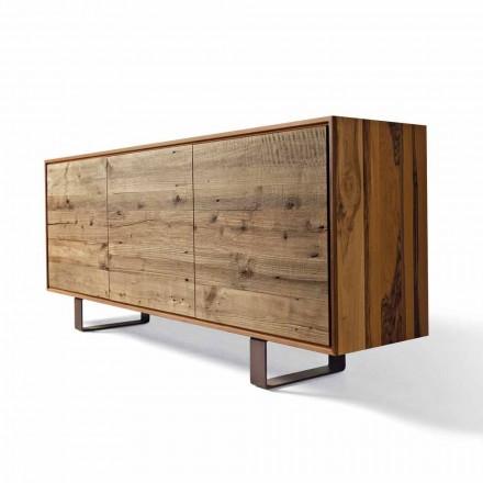 Aparador moderno Flora com 3 portas em madeira de nogueira natural, L 215 x L 50 cm