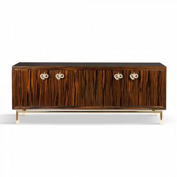 Aparador moderno com 4 portas em madeira de ébano brilhante Ada 2