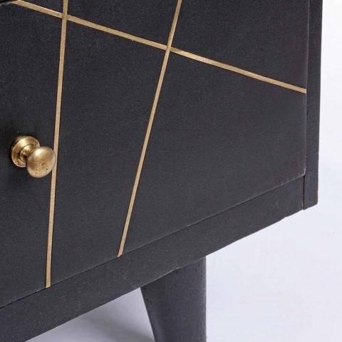 Aparador Moderno com Estrutura em Madeira de Manga e Detalhes em Latão - Anira
