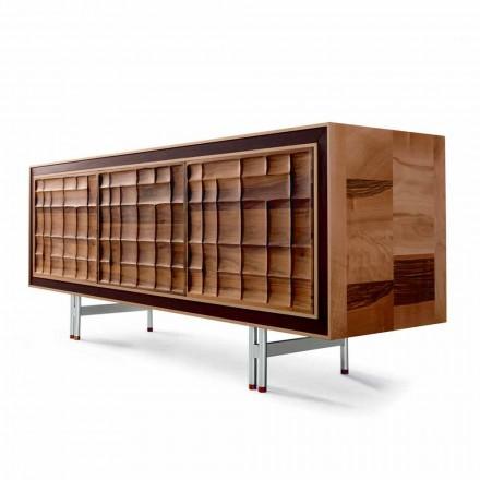 Aparador de design moderno Anna com 3 portas em madeira maciça, fabricado na Itália