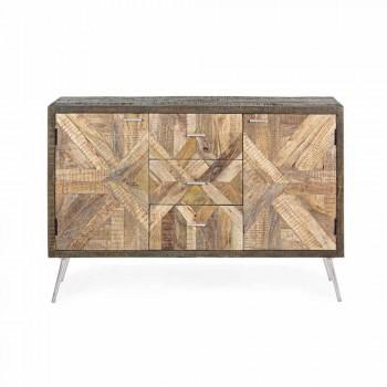 Aparador estilo vintage com estrutura de madeira e detalhes de aço - Adiva