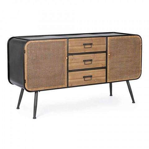 Aparador Vintage com Portas E Gavetas Efeito Rattan em Fir Wood - Freddy