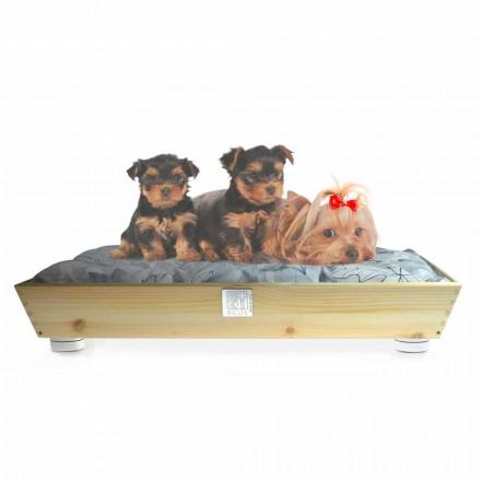 Canil Cães e Gatos em Madeira Maciça com Alças e Almofada Made in Italy - Lyn
