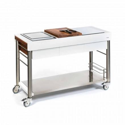 Cozinha ao ar livre sobre rodas de design, alta qualidade em madeira e aço - Calliope