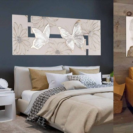 Pintura em relevo artesanal sobre tela Martina, com borboletas