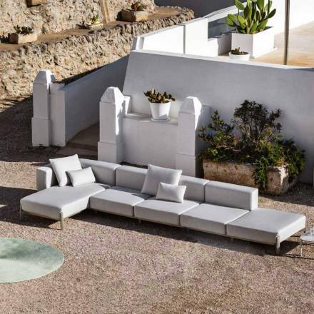 Sofá Outdoor 3 Lugares em Alumínio com Pufe e Chaise Longue - Filomena