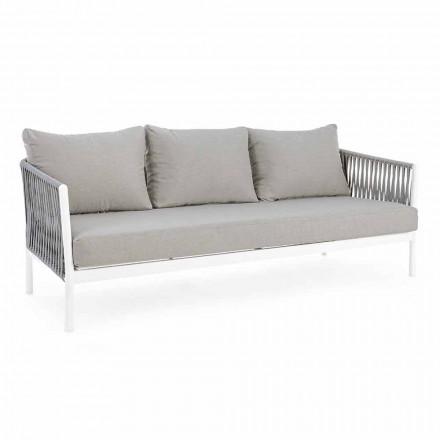 Homemotion - Sofá de exterior Design Rubio 3 lugares em branco e cinzento