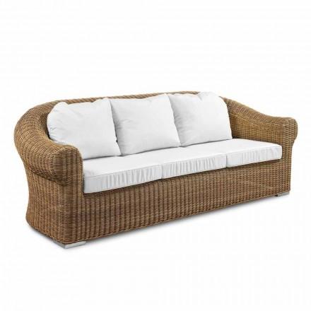 Sofá ao ar livre de 3 lugares em tecido de rattan sintético e branco ou écru - Yves