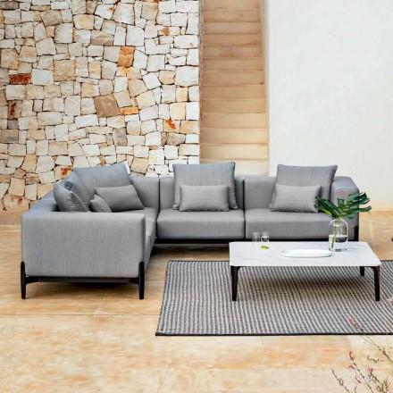 Sofá de canto externo 5 lugares em alumínio 3 acabamentos, luxo - Filomena