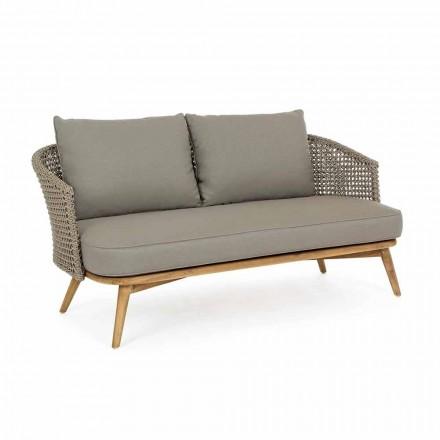 Sofá de exterior 2 ou 3 lugares em madeira e tecido Dove-Grey Homemotion - Luana