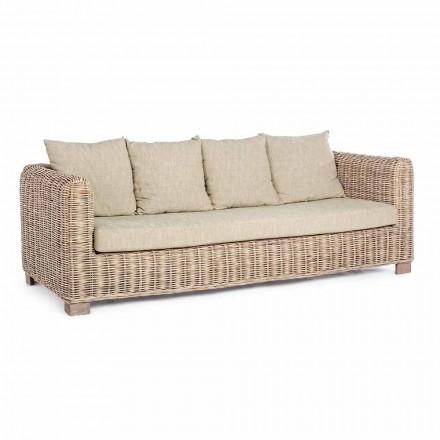 Homemotion - Sofá de 3 lugares design ceara com 3 lugares em madeira e rattan