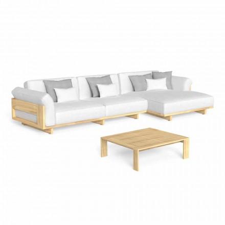Lounge ao ar livre com sofá de madeira de luxo e mesa de centro - Argo by Talenti