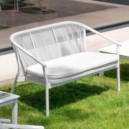 Tecido estofado para sofá ao ar livre empilhável de dois lugares - inteligente por Varaschin