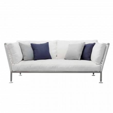 Sofá de exterior em aço e almofadas brancas em PVC trançado - Ontario6