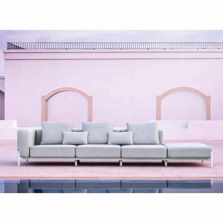Sofá 3 Lugares Jardim com Pufe Luxo em Alumínio e Tecido - Filomena