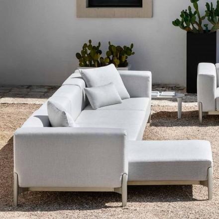 Sofá 3 Lugares de Jardim com Espreguiçadeira em Alumínio e Tecido - Filomena