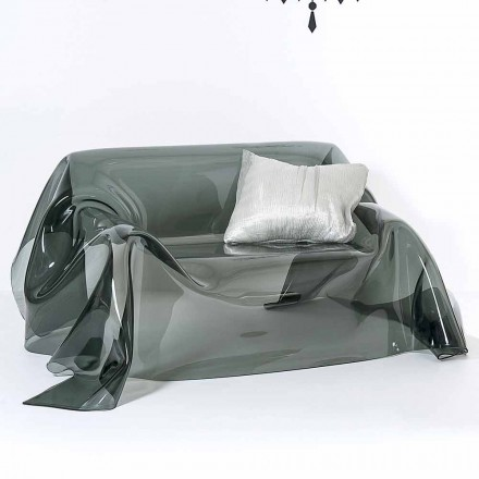 Sofá de design moderno feito de plexiglass Jolly, feito na Itália, acabamento fumé