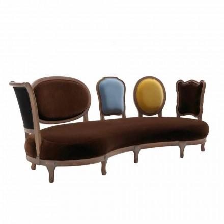 Sofá de design de luxo Manno, com estrutura de madeira maciça e 5 encostos