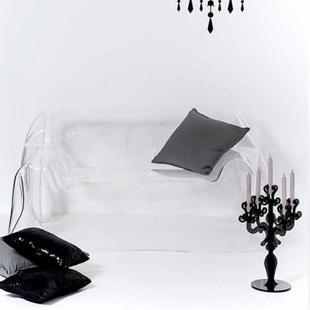 Sofá de design moderno feito de plexiglass transparente Jolly, fabricado na Itália