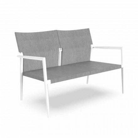 Sofá de jardim de dois lugares em alumínio e têxtil - Adam by Talenti