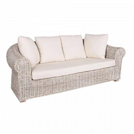 Sofá para interior ou interior de 3 lugares em Rattan Homemotion - Francioso