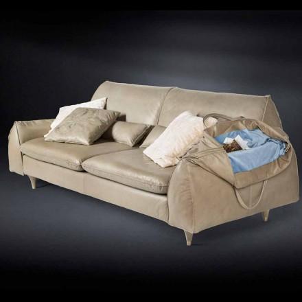 Sofá de couro e madeira maciça Eve, braços com armazenamento