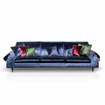 Axel de sofá linear com estofos de tecido e braços de armazenamento