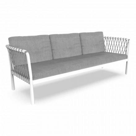 Sofá de jardim moderno de três lugares em alumínio e tecido - Sofy by Talenti