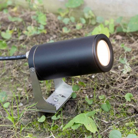 Refletor de jardim em alumínio anodizado preto com LED Made in Italy - Forla