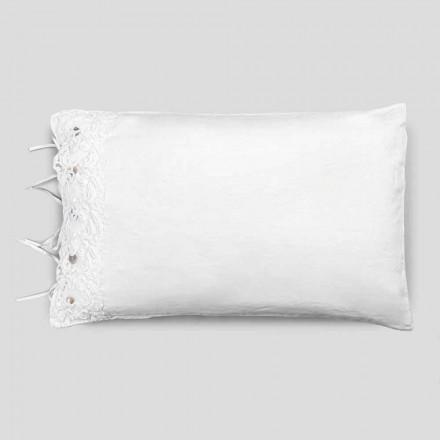 Fronha de roupa de cama com renda branca, design luxuoso feito na Itália - Kiss