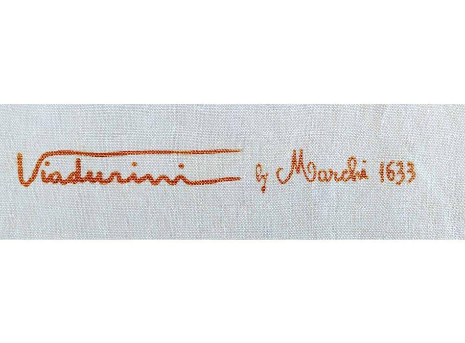 Avental de linho do artesão italiano Impresso à mão peça artística única