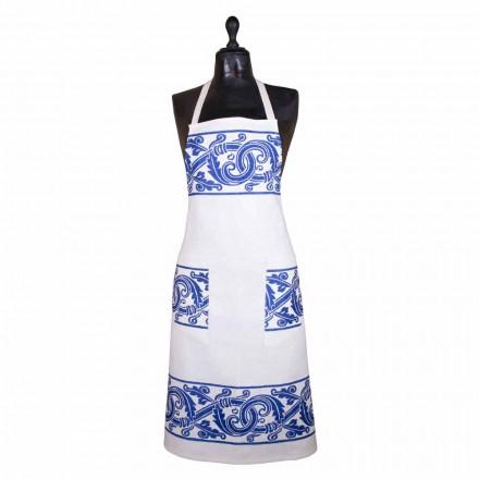 Avental de artesanato italiano de peça de linho impressa à mão - Viadurini por Marchi