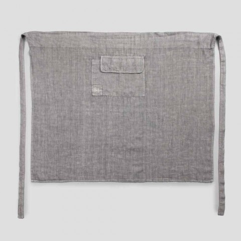 Avental de cozinha em modelo baixo de linho cinza antracite com bolso - Flick