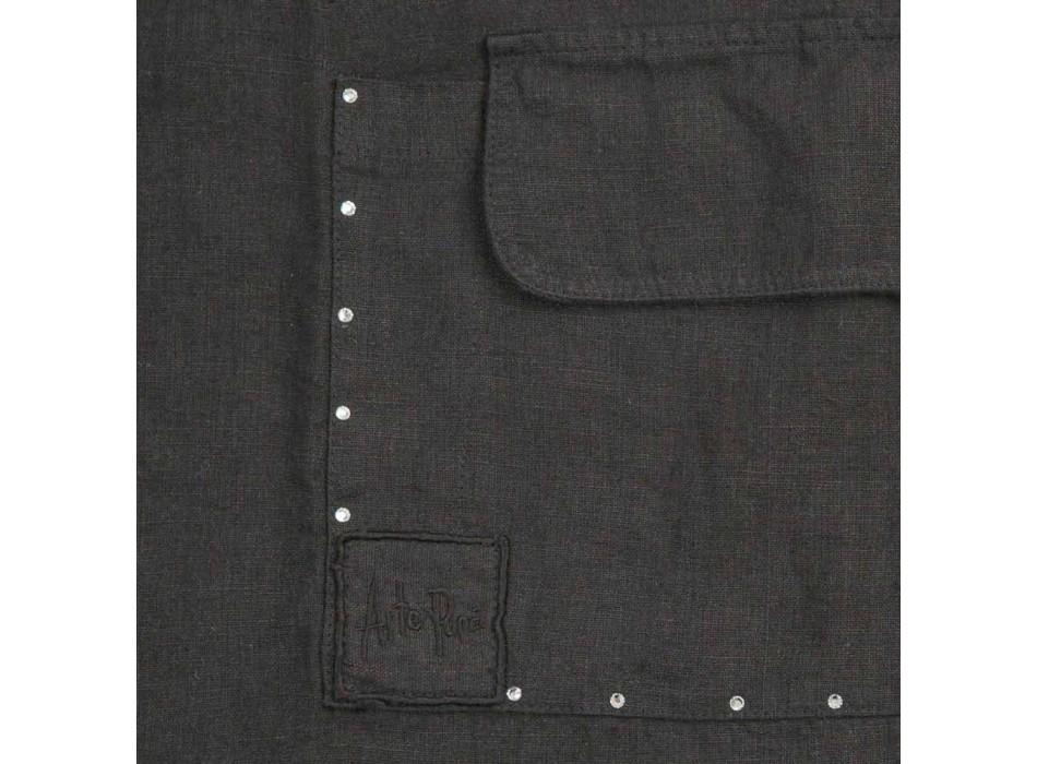 Avental de cozinha de linho preto com cristais Modelo baixo com bolso - Clique