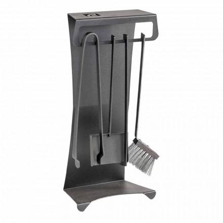 Conjunto de 4 ferramentas para lareira de aço Made in Italy Design - Chandler