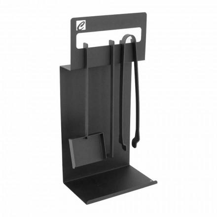 Conjunto de ferramentas de design para lareira em aço preto fabricado na Itália - Ostro