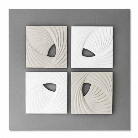 Instalação de parede decorativa em branco e cinza com design moderno - Bossy