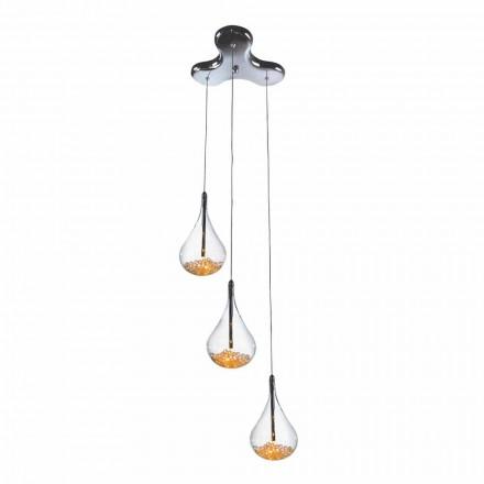 Lâmpada de suspensão com 3 ou 4 luzes em vidro borosilicato e metal - peras