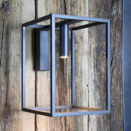 Candeeiro de parede exterior em ferro e alumínio com LED Made in Italy - Cubola