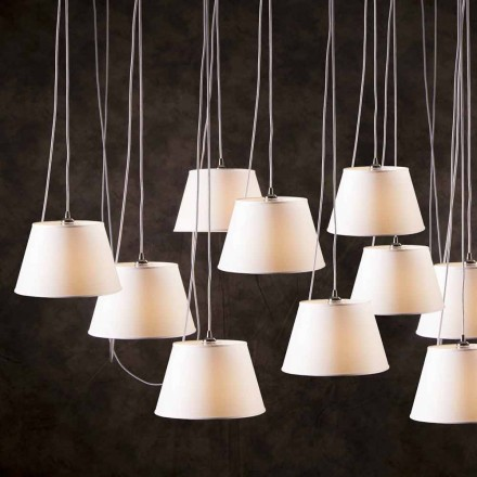 Candeeiro suspenso contemporâneo de 12 luzes Cromado, abajur branco