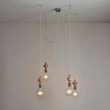 Design moderno luz pingente de 4 luzes com decoração de madeira Bois