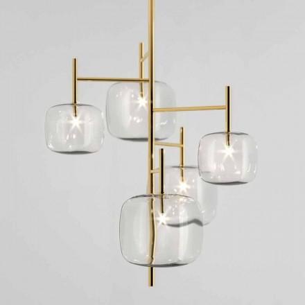 Lâmpada de suspensão com estrutura metálica brilhante Made in Italy - Donatina