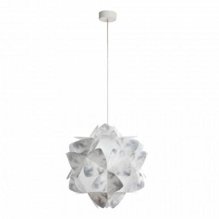Luminária pendente design moderno Kaly, cor cinza, 46 cm diametro