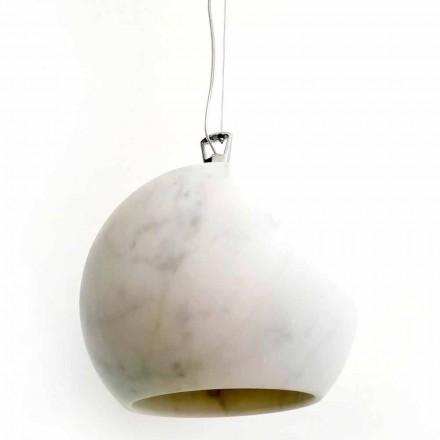Lâmpada suspensa de design em mármore branco Carrara Made in Italy - Panda