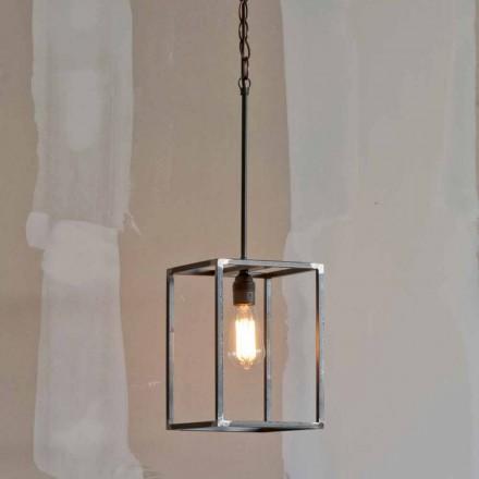 Lâmpada pingente de ferro artesanal com corrente Made in Italy - Cubola