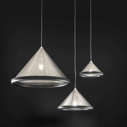 Luminária pendente em aço inoxidável e cerâmica - Tamiso Aldo Bernardi