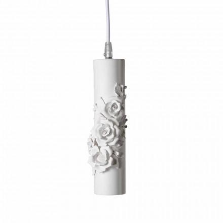 Candeeiro de Suspensão em Cerâmica Branca Mate com Flores Decorativas - Revolução
