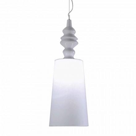 Candeeiro de Suspensão em Cerâmica Branca Abajur em Linho Long Design - Cadabra